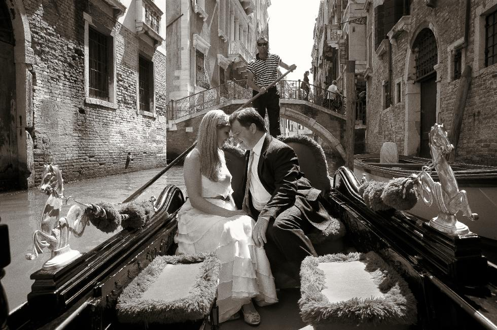 Bride and groom in a Venetian gondola